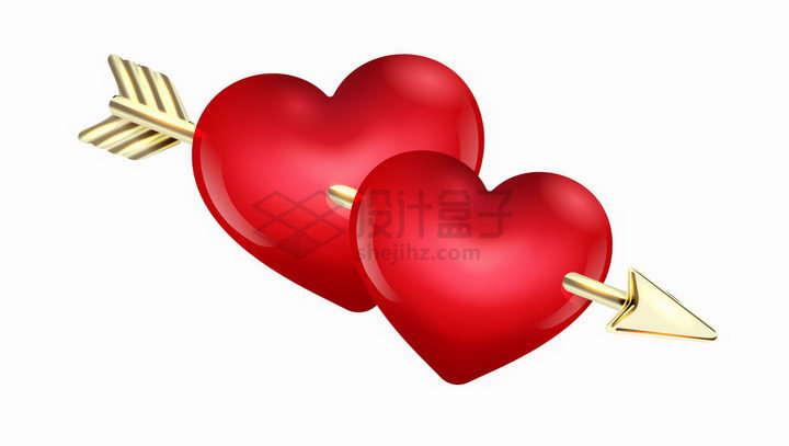 一支金色光泽金属箭将两颗红心串在一起情人节爱情png图片免抠矢量素材