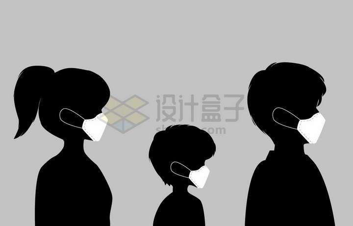 一家人剪影和白色口罩的正确戴法展示png图片免抠矢量素材