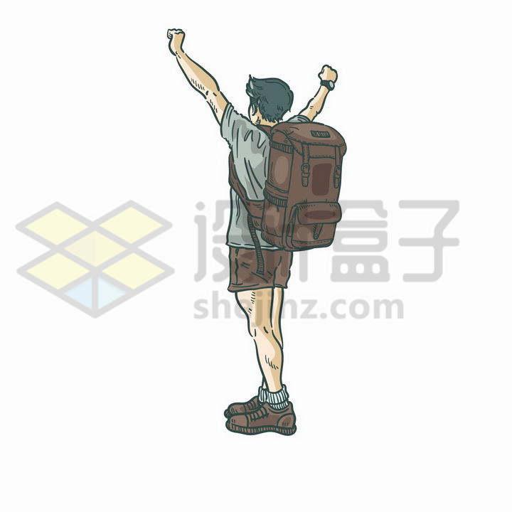 手绘风格背着背包高举双手的徒步登山者png图片免抠矢量素材