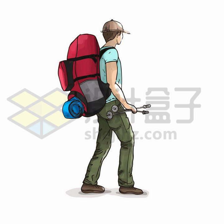 手绘风格背着背包正在行走的徒步登山者png图片免抠矢量素材
