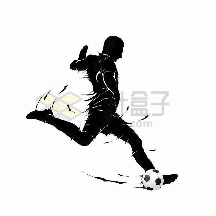 抽象运动员飞起一脚正在踢足球剪影png图片免抠矢量素材