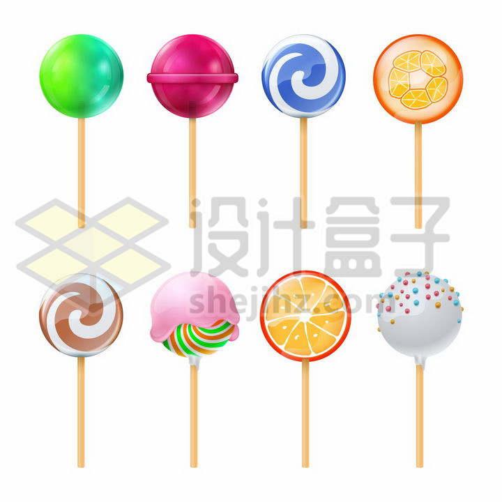 8款各种颜色配方的棒棒糖png图片免抠矢量素材