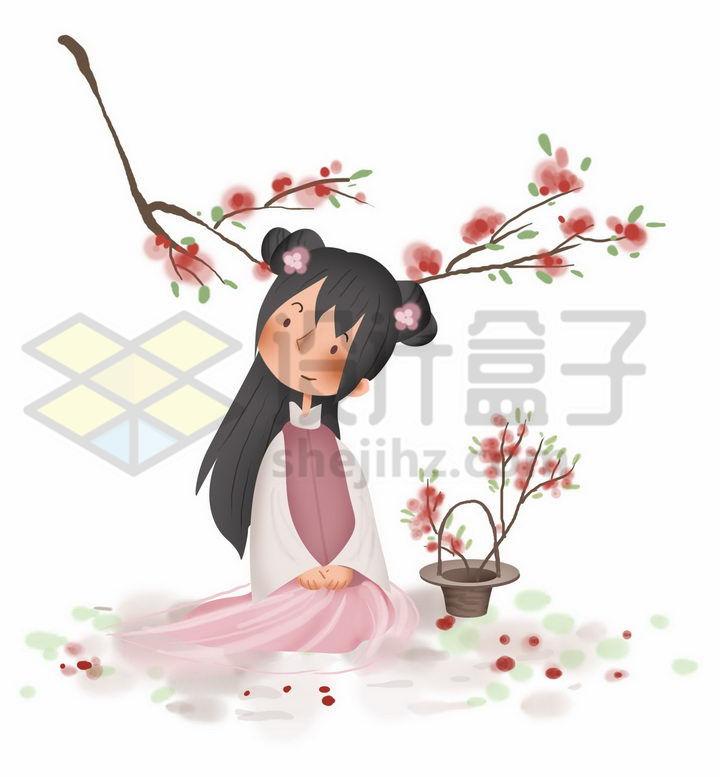 桃花树免抠_春天坐在桃花树下的汉服卡通少女png图片免抠素材 - 设计盒子