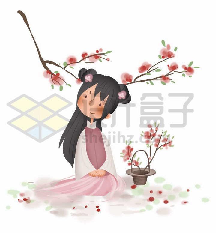 春天坐在桃花树下的汉服卡通少女png图片免抠素材