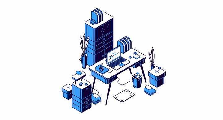 蓝色2.5D风格办公桌和文件柜等办公用品png图片免抠矢量素材