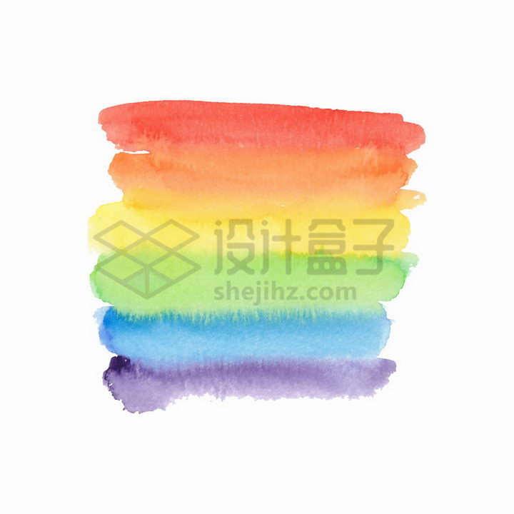 6种颜色的七彩虹色彩涂鸦水彩画png图片免抠矢量素材