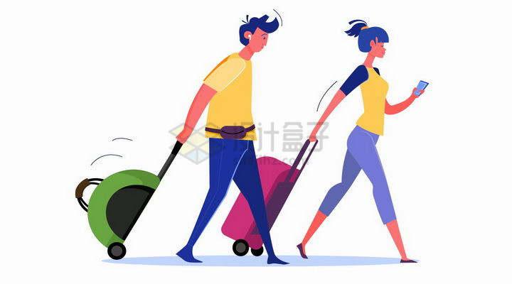 扁平插画拖着行李行色匆匆的青年男女png图片免抠矢量素材