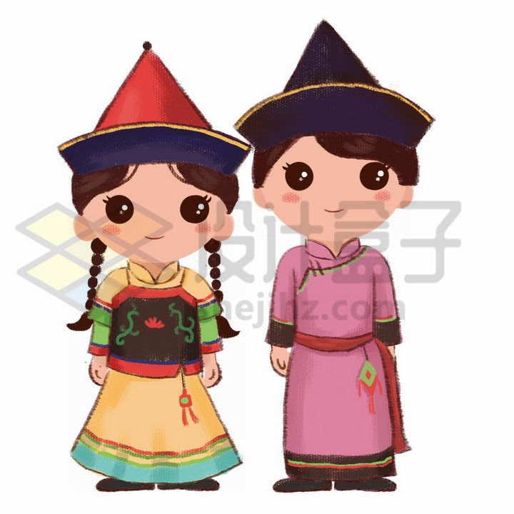 Q版卡通满族少女传统服饰少数民族png图片免抠素材