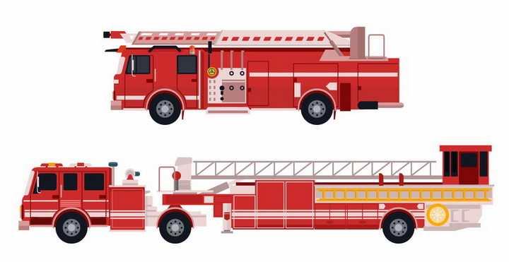 两款云梯消防车侧视图png图片免抠矢量素材