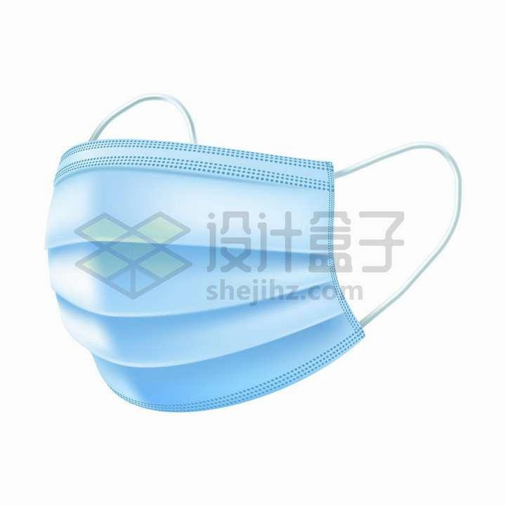 淡蓝色的一次性医用口罩png图片免抠矢量素材