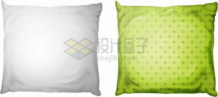 白色和绿色的枕头靠垫抱枕家居用品png图片免抠矢量素材