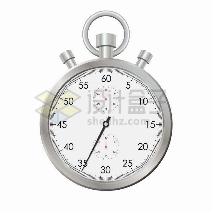 逼真的金属银色秒表计时器png图片免抠矢量素材