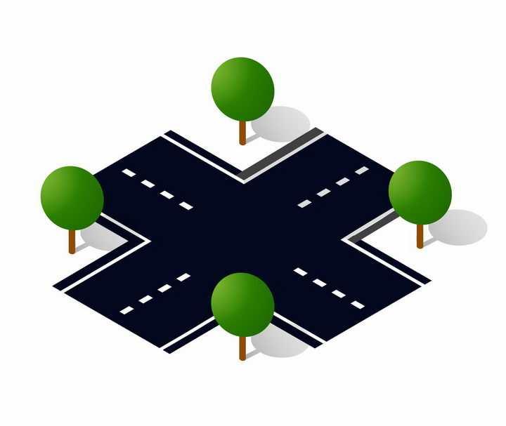 2.5D风格十字路口马路中间png图片免抠矢量素材