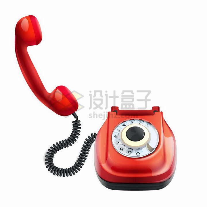 红色复古风格旋转号盘电话机png图片免抠矢量素材