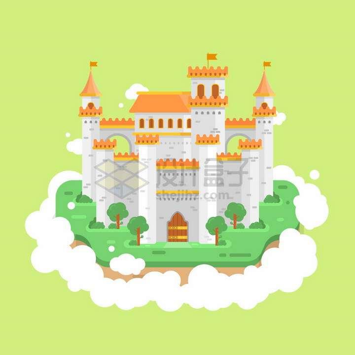 白云上的童话城堡扁平化风格png图片免抠矢量素材