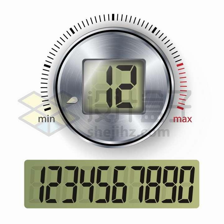 液晶显示数字和金属光泽旋钮png图片免抠矢量素材