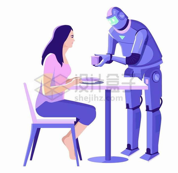 科幻风格未来餐厅中的机器人服务员png图片免抠矢量素材