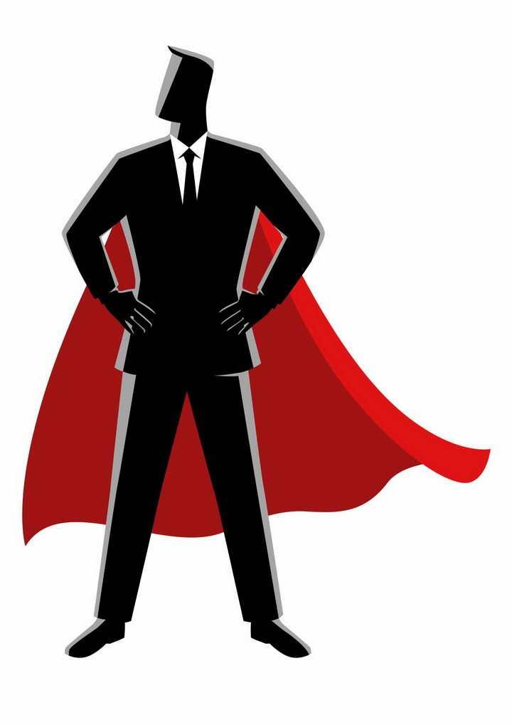 黑色插画风格身穿红色披风的商务职场人士png图片免抠素材