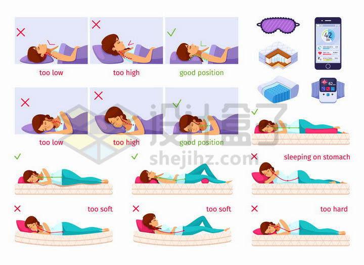 各种枕头的正确用法和颈椎病正确睡姿png图片免抠矢量素材