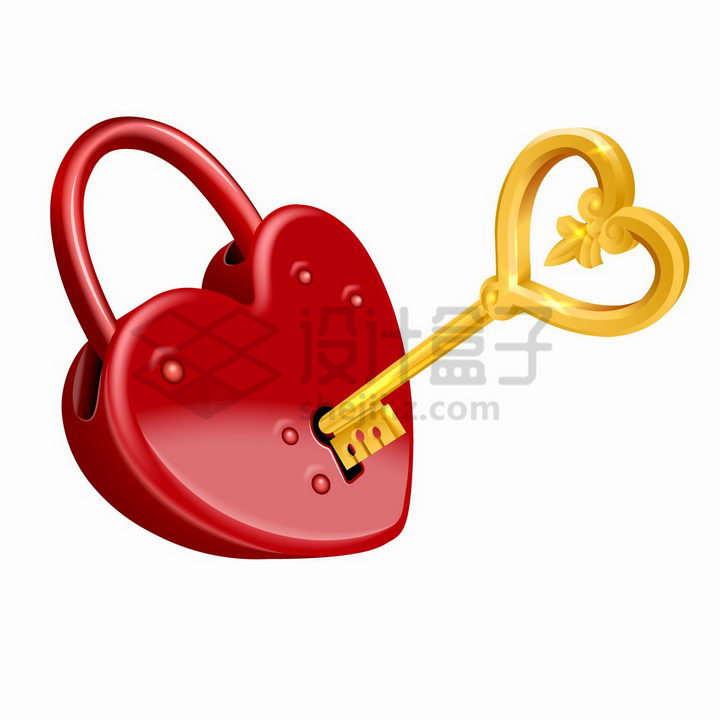 金色钥匙打开红色心形锁象征了情人节爱情的忠贞不二png图片免抠矢量素材