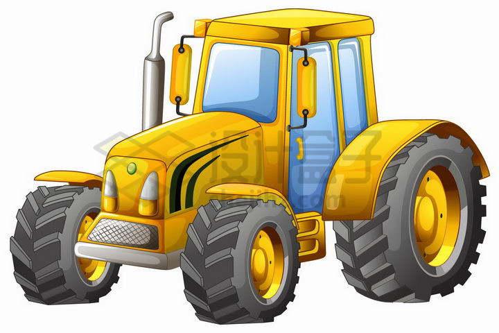 黄色的卡通拖拉机png图片免抠矢量素材