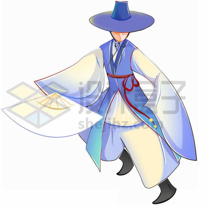 拿着扇子跳舞的卡通朝鲜族传统服饰少数民族png图片免抠素材