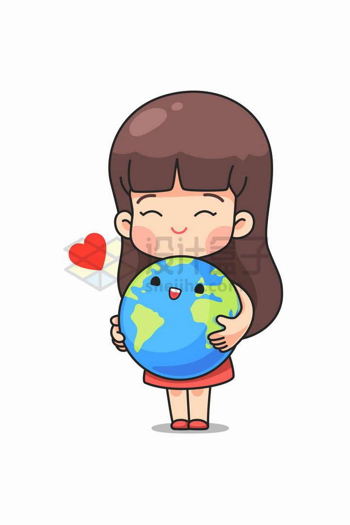 卡通小女孩抱着卡通地球象征了保护地球环境png图片免抠矢量素材