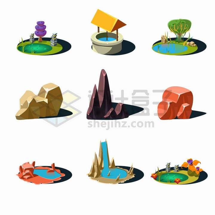 池塘水井大树石块瀑布等卡通漫画景观png图片免抠矢量素材
