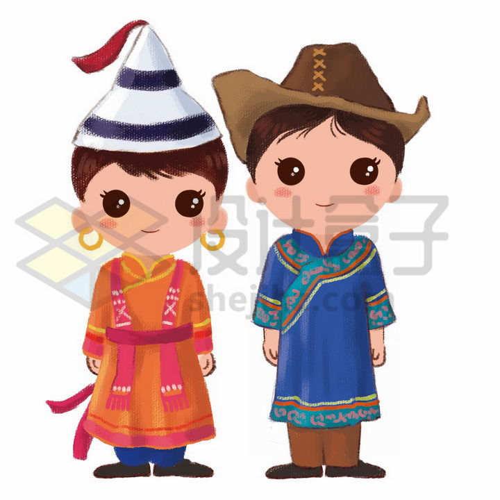 Q版卡通裕固族少女少年传统服饰少数民族png图片免抠素材