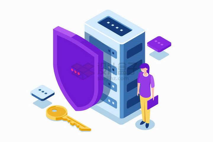 2.5D风格防护盾牌和钥匙象征了云计算服务器安全技术png图片免抠矢量素材