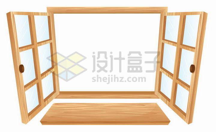 打开的带窗台的木头窗户png图片免抠矢量素材