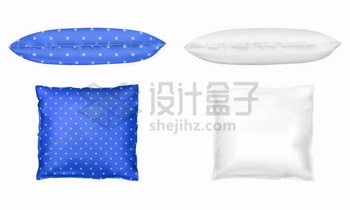 蓝色和白色的抱枕靠垫枕头png图片免抠矢量素材