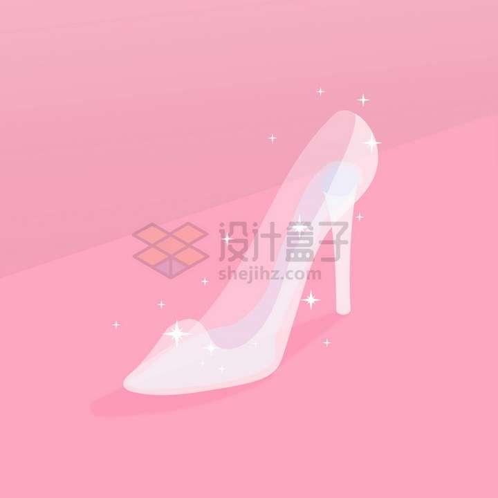 闪闪发亮的白色半透明水晶高跟鞋png图片免抠矢量素材