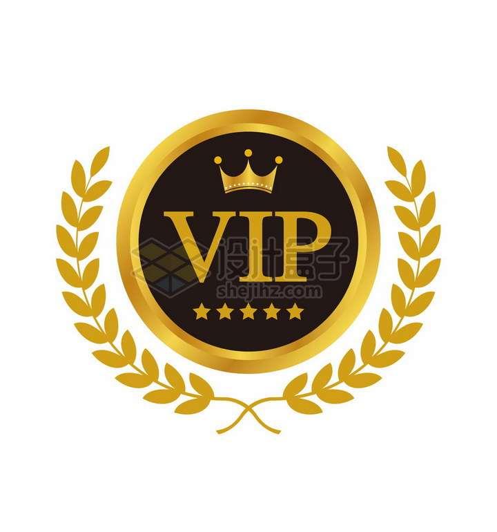 带橄榄叶装饰的金色VIP会员标志勋章png图片免抠矢量素材