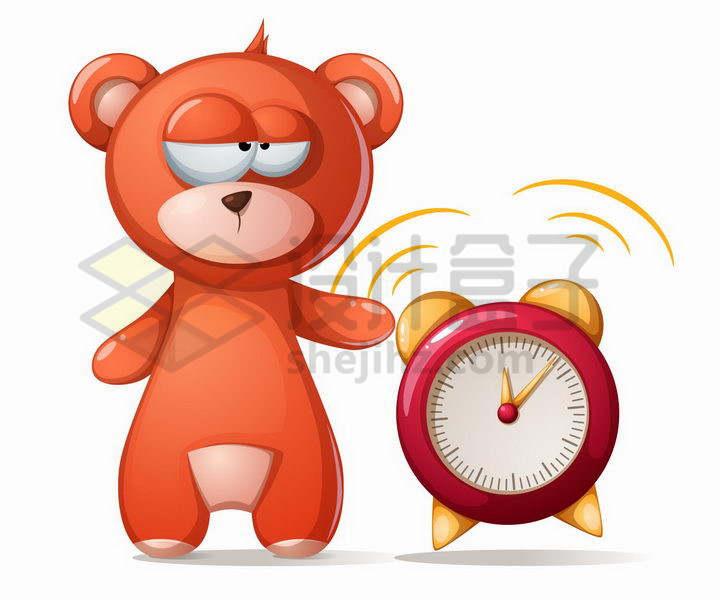 红色的卡通熊和闹钟png图片免抠矢量素材