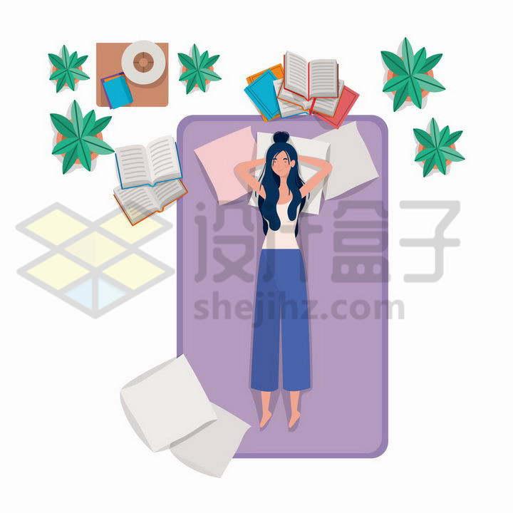 俯视视角的年轻女孩平躺在床上睡觉png图片免抠矢量素材