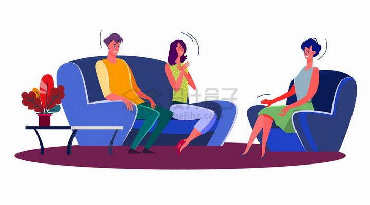 扁平插画坐在沙发上聊天的三个年轻人png图片免抠矢量素材