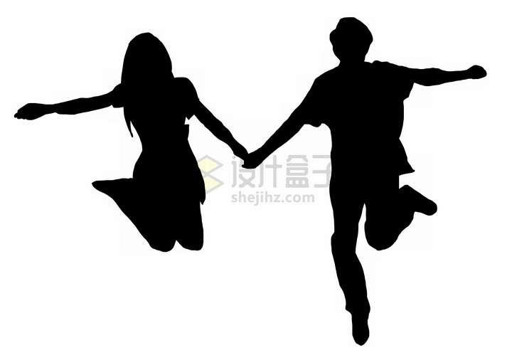 情侣之间手牵手跳跃起来剪影png图片免抠素材
