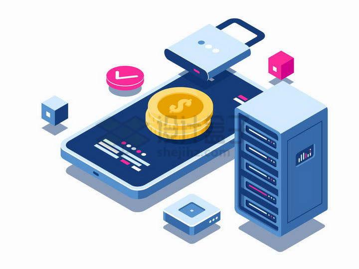 3D立体智能手机和金币一把锁以及服务器象征了移动支付安全png图片免抠矢量素材