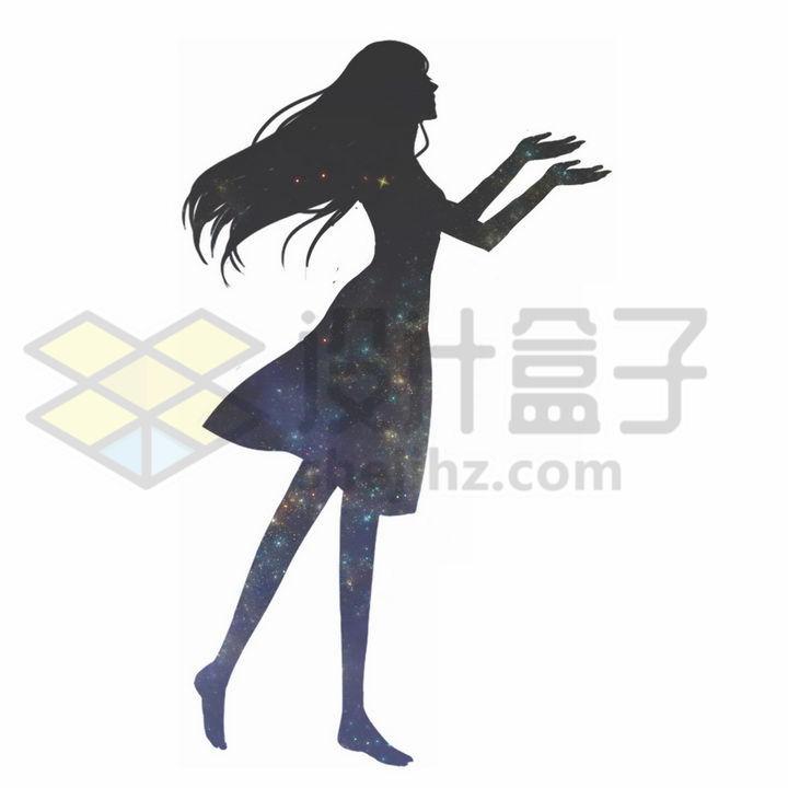唯美风格优雅美少女剪影png图片免抠素材 人物素材-第1张