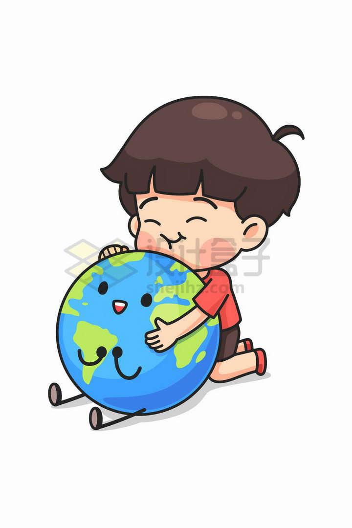卡通小男孩抱着卡通地球象征了保护地球png图片免抠矢量素材