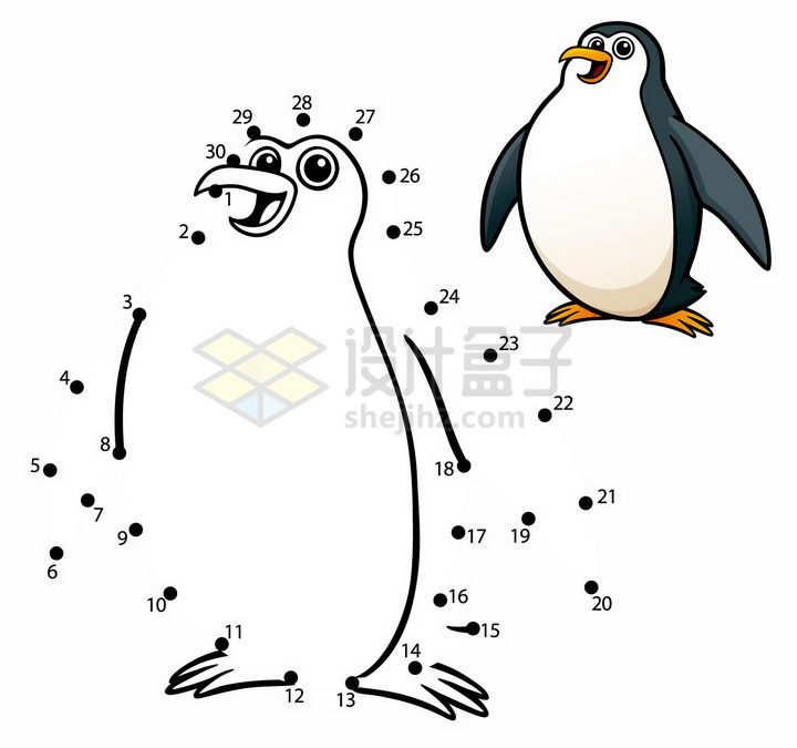 儿童绘画游戏画一个企鹅png图片免抠素材