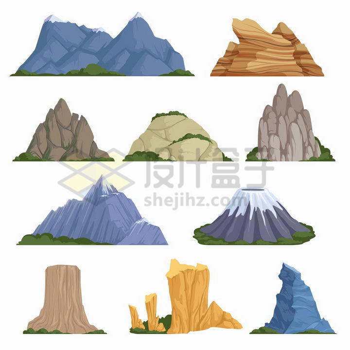 10种类型的卡通大山石头山火山等png图片免抠矢量素材