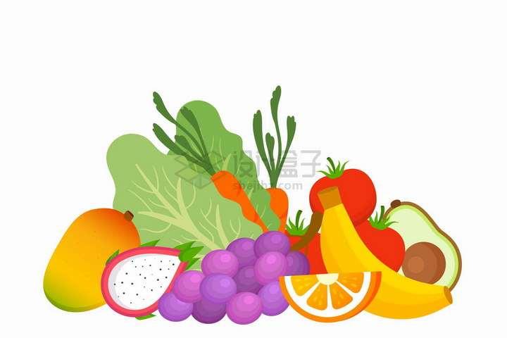 芒果火龙果葡萄橙子香蕉胡萝卜生菜等扁平化风格水果蔬菜png图片免抠矢量素材