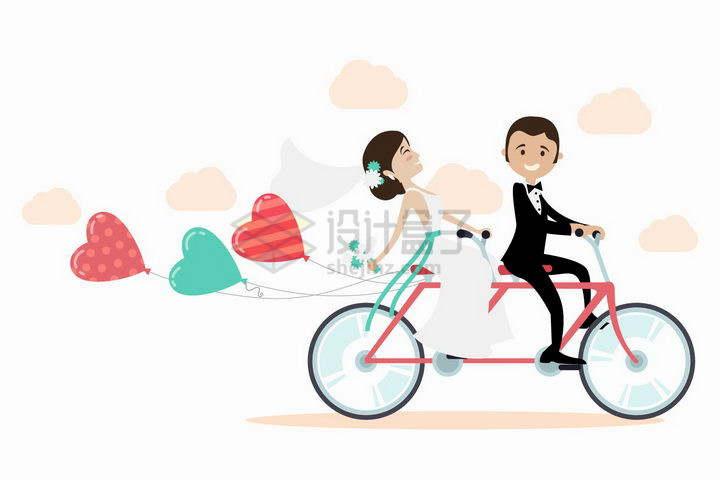 我们结婚啦新婚夫妻骑着双人自行车拉着彩色气球png图片免抠矢量素材