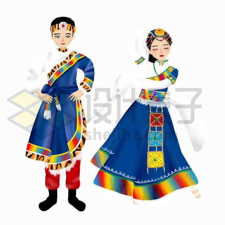 跳舞的卡通藏族少女少年传统服饰少数民族png图片免抠素材