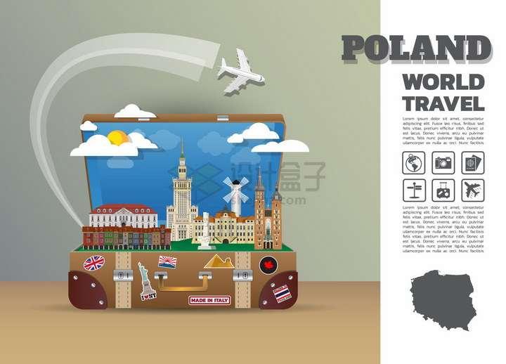 复古旅行箱中的波兰旅游景点插画png图片免抠矢量素材