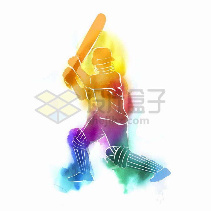 彩色水彩画风格正在打板球的运动员png图片免抠矢量素材