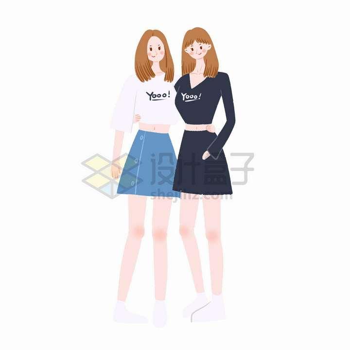 彩绘风格肩靠肩的卡通女孩好闺蜜好朋友png图片免抠素材