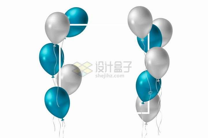 深蓝色和灰色气球组成的白色方框文本框标题框png图片免抠矢量素材